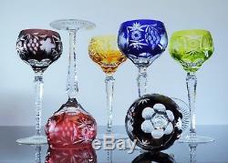 Anciennes Grand 6 Verres A Vin Cristal Couleur Traube Nachtmann Bohème