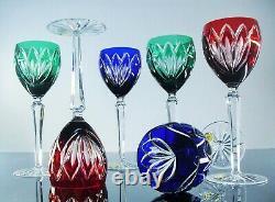 Anciennes Grand 6 Verres A Vin Cristal Double Couleur Grands Ducs Lorraine Boit