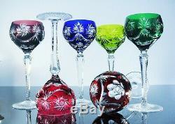 Anciennes Grand 6 Verres A Vin Cristal Double Couleur Taille Bohème St Louis