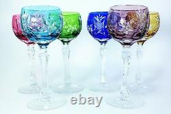 Anciennes Grand 6 Verres A Vin Cristal Double Couleur Taille Traube Boheme