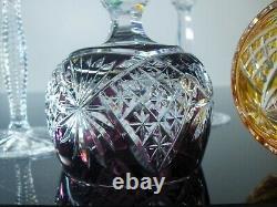 Anciennes Grand 6 Verres A Vin En Cristal Double Couleur Taille Fakiris Boheme
