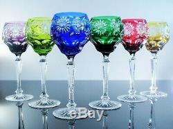 Anciennes Grand 6 Verres A Vin En Cristal Double Couleur Taille Wmf Signe