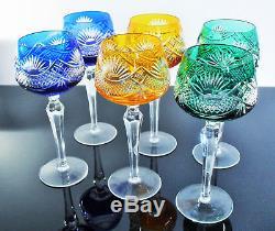 Anciennes Grand 6 Verres Forme Calice Cristal Double Couleur Boheme