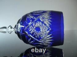 Anciennes Lot 6 Verres A Vin En Cristal Double Couleur Bleu Taille Bohème