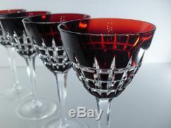 Anciennes Lot Grand 4 Verres A Vin En Cristal Couleur Double Couche Boheme