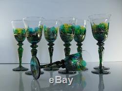 Anciennes Magnifiqyes 8 Grands Verres A Vin Cristal Émaillé Tiffany
