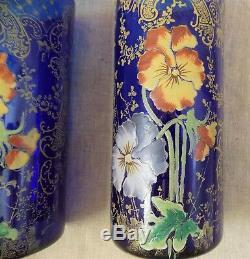 Anciens Paire De Vases Emailles Legras Non Signes Bleue Fleurs Pensees