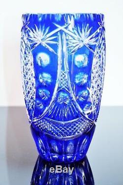 Arnstadt Boheme/ Ancienne Vase Cristal Couleur Double Taille Grave Dégage Acide