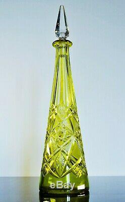 Art Déco Ancienne Carafe Cristal Couleur Taille Modelé Lagny Baccarat 1916