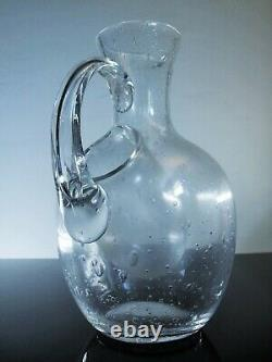 Art Déco Ancienne Grand Broc A Glass Eau Verre Souffle Ecole Navaro Biot Signe