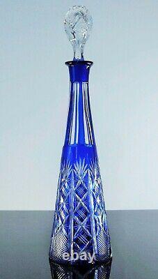 Art Déco Ancienne Grand Carafe Cristal Double Couleur Bleu Taille Baccarat 1908