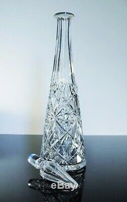 Art Déco Ancienne Grand Carafe Cristal Taille Modelé Lagny Baccarat 1916