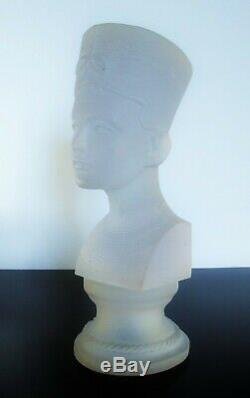 Art Déco Ancienne Grand XXL Bust En Pate De Verre Nefertiti 32cm Sabino Daum