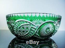 Art Déco Ancienne XXL Coupe Centre De Table Cristal Couleur Vert Baccarat 30cm