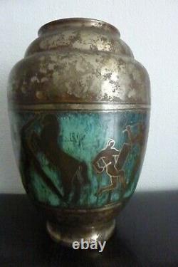 Art Déco Gros Vase Ancien Dinanderie Signé