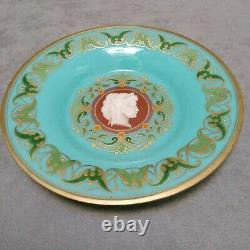 Assiette opaline bleue turquoise ancienne XIX ème décor desvignes camée