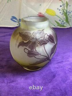 Authentique Ancien Vase Galle Pte De Verre Dégage À Lacide Decor Floral An1900