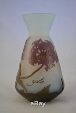 Authentique Et Ancien Vase En Pate De Verre Galle Gallé Art Nouveau 1900