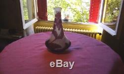 Authentique Vase Miniature Signé Gallé Ancien En Parfait État Couleurs Lilas