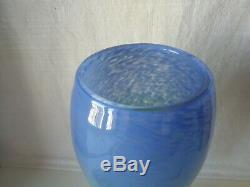Authentique ancien grand vase obus sur piédouche en verre marmoréen signé Degué