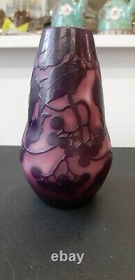 Authentique rare et ancien vase en pâte de verre de SAINT LOUIS NANCY