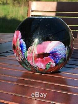 BIOT Vase boule Ancien en verre multicouche signé Genre Gallé Daum Legras