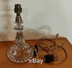 Baccarat Ancien Pied De Lampe En Cristal Signe Tbe