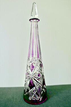 Baccarat Ancienne Carafe En Cristal Double Couleur Lila Taille Modelé Lagny