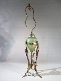Baccarat Ancienne Jolie Grande Lampe Oeuf Roseaux Epoque Art Nouveau 1900