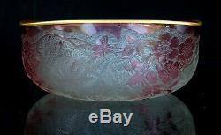 Baccarat Bol Ancien Décor Eglantine Gravé à l'Acide