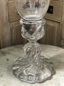 Baccarat Modèle Bambou Photophore Bougeoir Lampe Chandelier Cristal Ancien 1