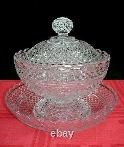 Baccarat Pointes De Diamants Crystal Sugar Bowl Sucrier Drageoir Ancien Cristal