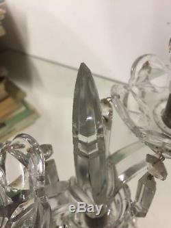 Baccarat Signé Bougeoir Girandole Chandelier Cristal Bambou Pampilles Ancien