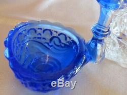 Baccarat rare salière ancienne saleron en cristal bicolore bleu diamant