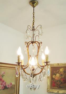 Beau Lustre Ancien Pampilles Cristal Et Verre Crystal Droplets Chandelier Light
