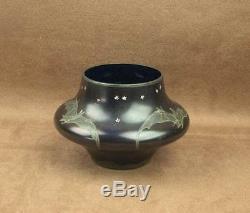 Beau Vase Ancien En Verre Emaillé Art Nouveau Decor De Chauve Souris