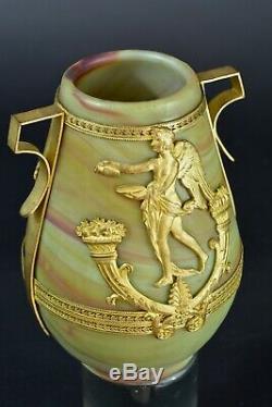 Beau Vase Ancien Pate de verre signé Sévres décor à l'Antique doré Glass 19e