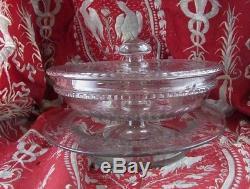 Bel ancien drageoir compotier confiturier cristal de baccarat XIX taillé