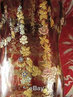 Bel ancien vase verre emaillé art nouveau epoque 1900 signé RI fleurs montjoye