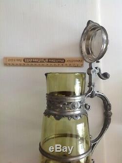 Belle aiguière ancienne et originale (fin 19ème-début 20ème) AVEC ses 6 verres