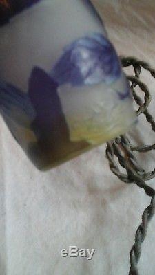 Belle lampe pate de verre signé Gallé pied en bronze art nouveau 1900 ancienne