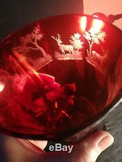 Boheme ANCIEN verre d'apparat en cristal taillé décor venerie
