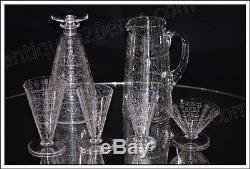 Broc ou pichet à eau en cristal de Baccarat modèle Lido ancien