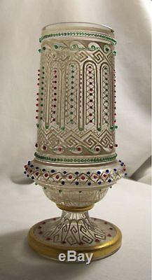 CALICE coupe à boire VERRE ancien CRISTAL décor peint et perles couleur Religion