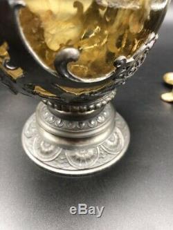 Carafe, Aiguière, Pichet ancien. Verre Et Étain. 30 cm