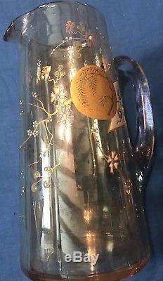 Carafe Ancienne Cristal Emaillé LEGRAS Art Nouveau 1900