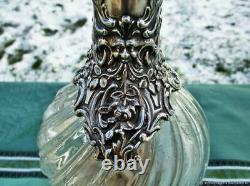 Carafe ancienne carafe VICTOR SAGLIER cristal argenté France Antique decanter de