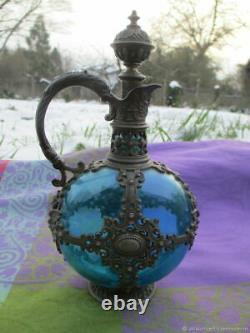 Carafe ancienne carafe en verre vitriol étain Femme XIXème siècle France Antique