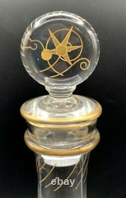 Carafe ancienne cristal art nouveau vers 1890-1900-gravé-doré-baccarat-st louis