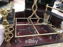 Cave à liqueur ancienne carafes et verres cristal dorés à l'or fin